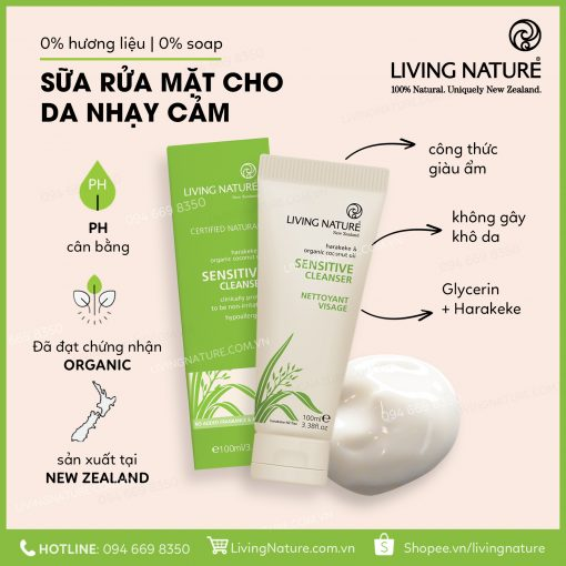 Sữa rửa mặt cho da nhạy cảm Living Nature Sensitive Cleanser 100ml