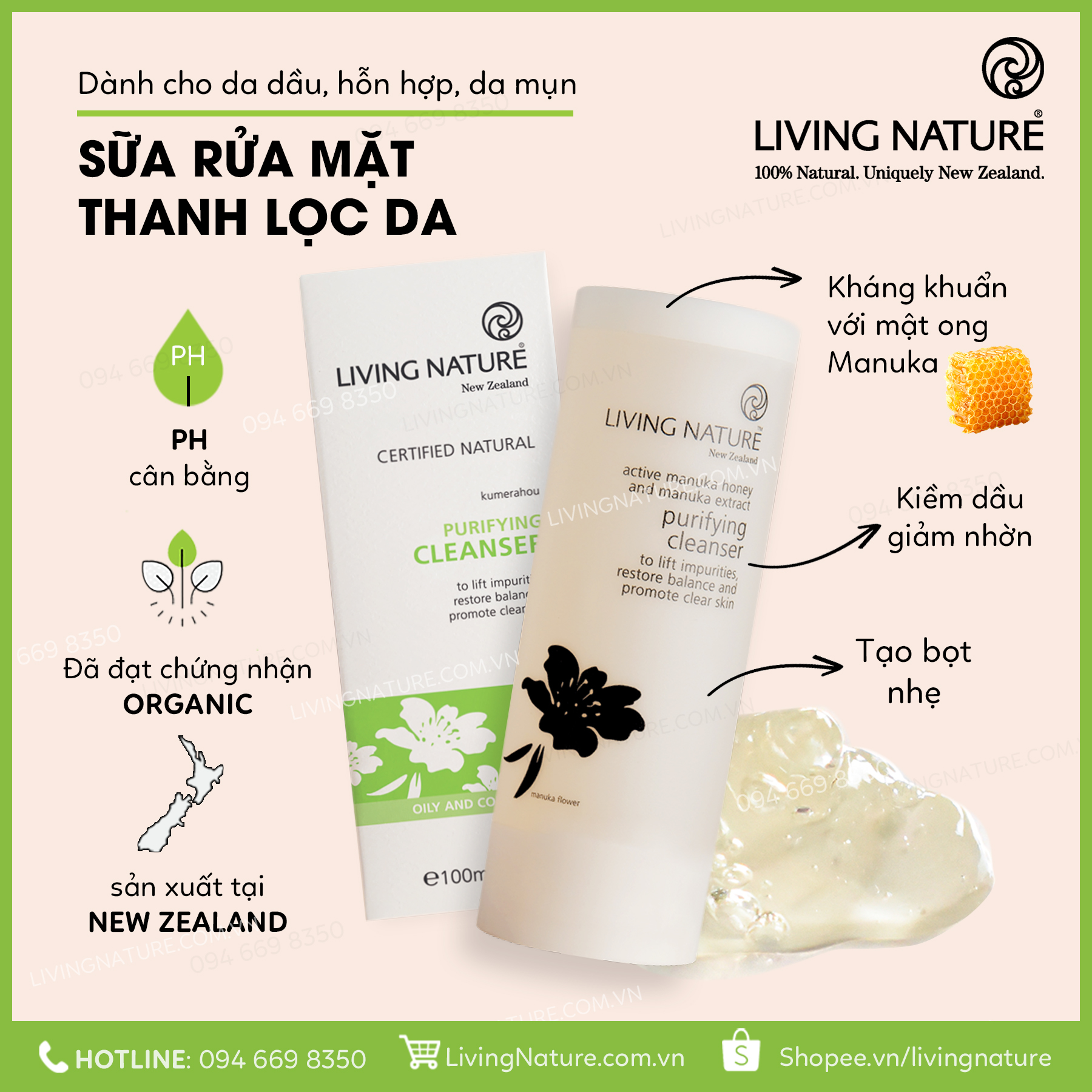Sữa rửa mặt Purifying Cleanser Living Nature 100ml 1