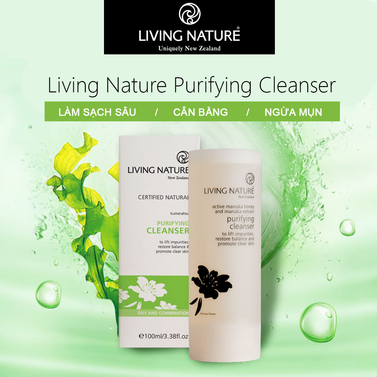 Sữa rửa mặt thanh lọc Living Nature Purifying Cleanser