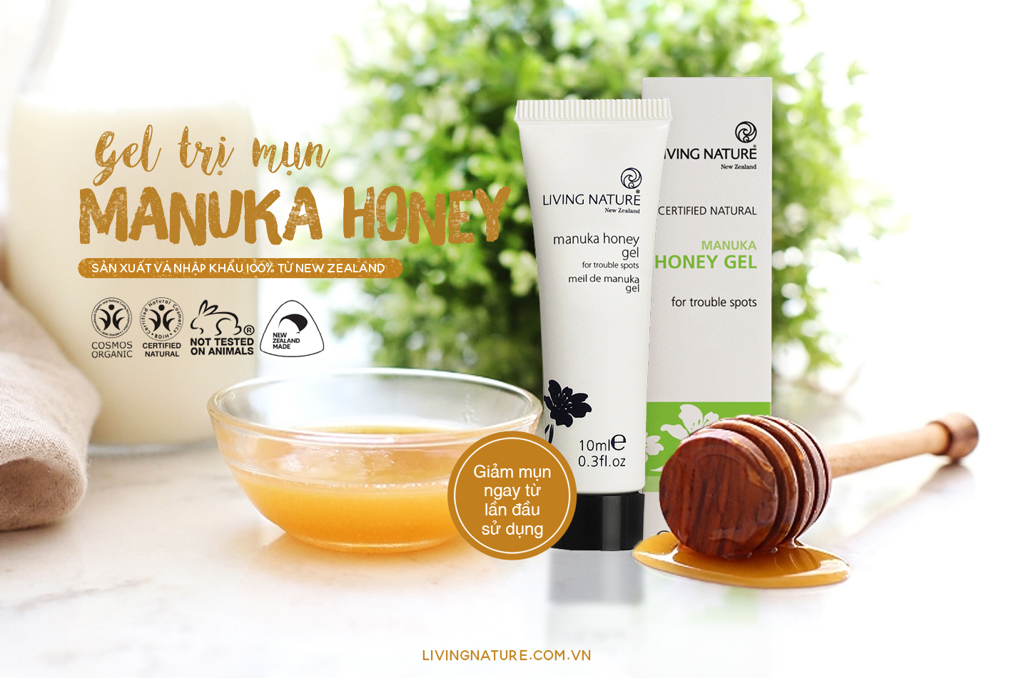 Gel trị mụn Living Nature Manuka Honey Gel 10ml