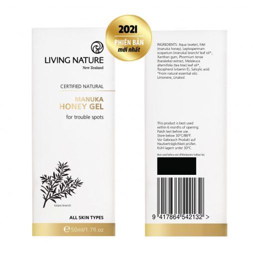 Gel trị mụn Manuka Living Nature Manuka Honey Gel 50ml 3a