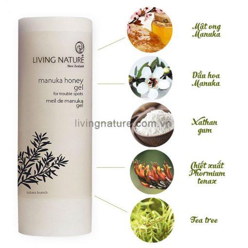Thành phần gel trị mụn từ thiên nhiên Living Nature Manuka Honey Gel 50ml