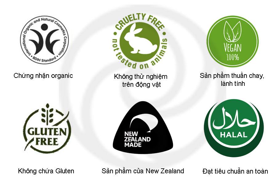 Các chứng nhận của gel trị mụn Living Nature Manuka Honey Gel