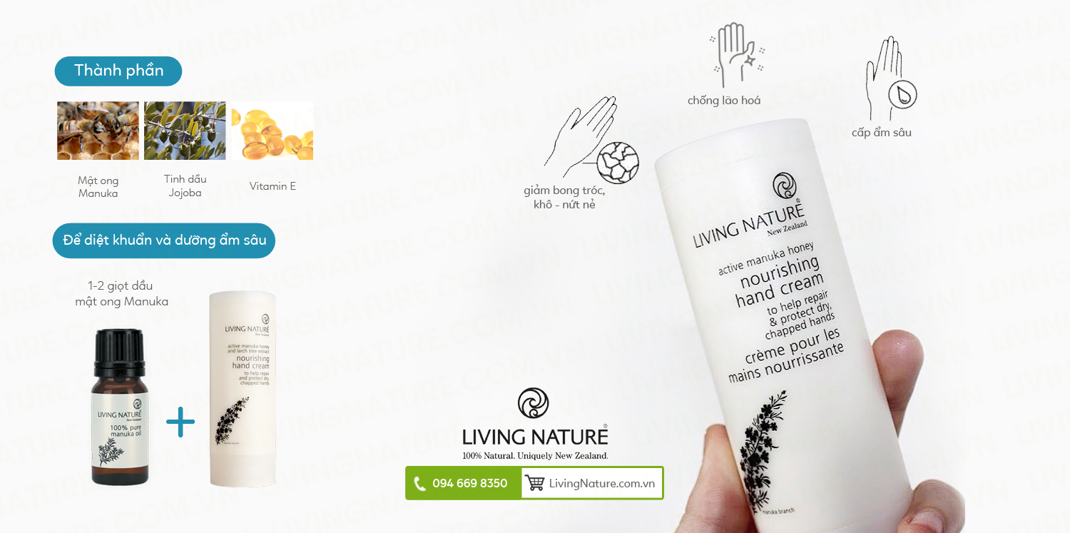 Kem dưỡng da tay Living Nature Nourishing Hand Cream 50ml 1