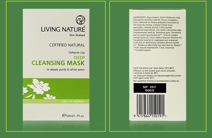 Mặt nạ đất sét Living Nature Deep Cleansing Mask 56