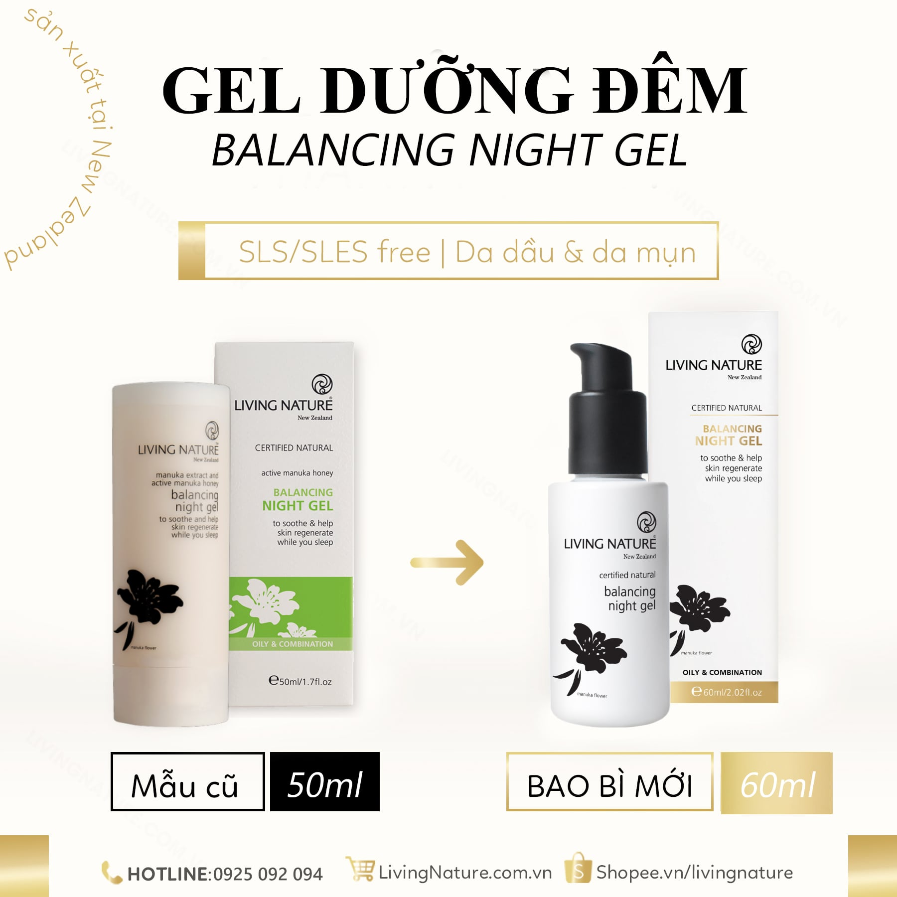Gel dưỡng da Living Nature Balancing Night Gel 10