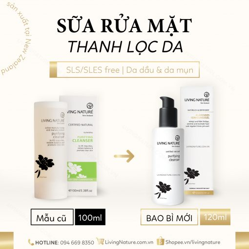 Sữa rửa mặt Living Nature Purifying Cleanser 2021